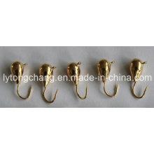 Cabeça pura Dia5mm do gabarito da pesca do gelo do tungstênio da cor do ouro USD0.28 / PC