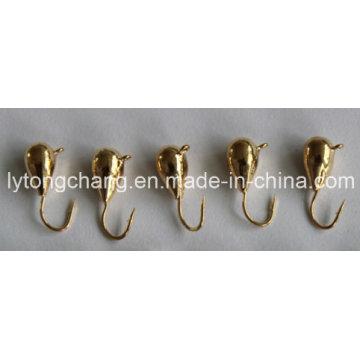 Reines Gold Farbe Tungsten Eisfischen Jigkopf Dia5mm USD0.28 / PC