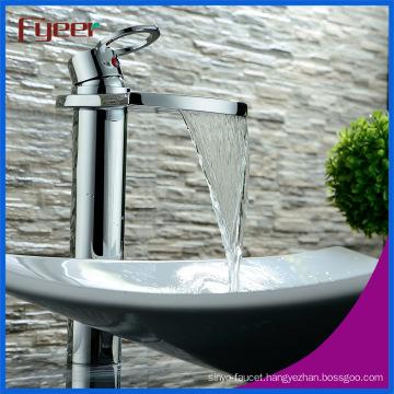 Fyeer Cheap Brass Big Spout Bathroom Waterfall Basin Faucet