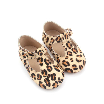 Leopard Wholesale Leather T Bar Zapatos de vestir para bebés
