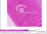 fushia colored shiny plastic deco flower wrapping mesh of metallic