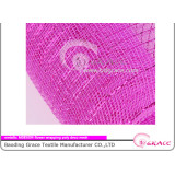 fushia colored shiny plastic deco flower wrapping mesh of metallic