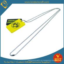 Tag de cão amarelo anodizado de alumínio feito sob encomenda (LN-0157)