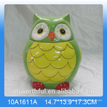 Kitchen ornaments ceramic storage jar in owl shape