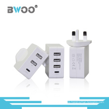 Bwoo New Universial Reino Unido / UE USB / Tipo-C Sync Multil Charger