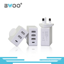 Bwoo Nouvelle Universelle UK / UE USB / Type-C Sync Multil Chargeur
