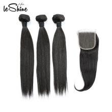 LIVRAISON GRATUITE Double Extraits Péruviens Humains Extensions Grade 9a Cheveux Vierges Bundles Avec Fermeture