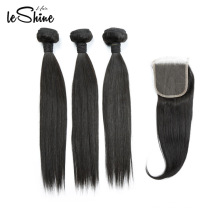 FREE SHIPPING Double Drawn Peruvian Human Extensions Grade 9a Virgin Hair Bundles With Closure