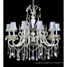 Decorative Crystal Brass Chandelier with Lampshade for Hotel