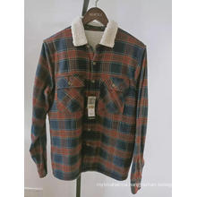 flannel berber fleece lined mens long sleeve jacket