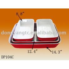 Logotipo modificado para requisitos particulares rojo esmaltado de cerámica bakeware, bakeware de cerámica