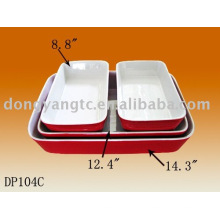 Logotipo personalizado vermelho vitrificado bakeware cerâmico, bakeware cerâmica