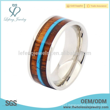 Fashion titanium wood and silver ring,wooden titanium rings for men