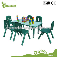 Cute plastic rectangular tables 6 people for children