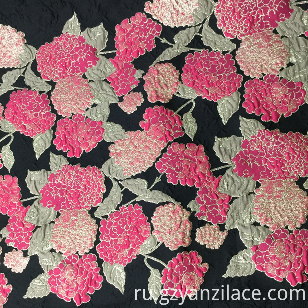 Red Rose Black Floral Jersey Jacquard Fabric