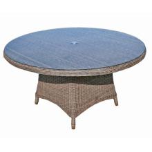 Jardín mimbre rota al aire libre Patio mesa de comedor redonda