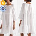 De gran tamaño con gradas de lino blanco manga tres cuartos de manga Mini vestido de verano fabricación al por mayor de prendas de vestir de las mujeres de moda (TA0306D)