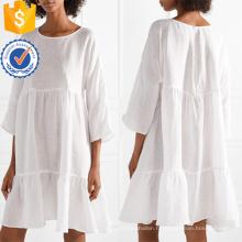 Oversized Tiered Linen blanc trois-quarts longueur manches Mini robe d'été fabrication en gros de mode femmes vêtements (TA0306D)
