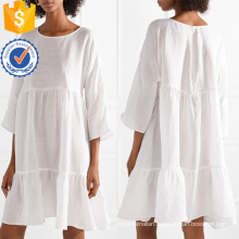 Oversized Tiered Linen White Three Quarter Length Sleeve Mini Summer Dress Manufacture Wholesale Fashion Women Apparel (TA0306D)