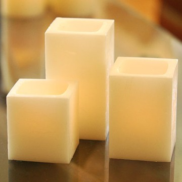 Ivory flameless LED pillar candle set