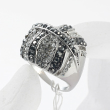 Fashion Rhinestone crystal leaf shape Womans Ring zinc alloy finger rings
