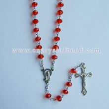 Red Glass Crystal Rosary