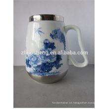 venta por mayor alta calidad creativa hecha en taza de cerámica tiki china acero inoxidable con mango