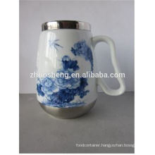 wholesale creative top quality made in china stainless steel ceramic tiki mug with handle