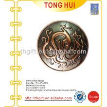 Aleta de zinco 3D ronda lembrança lapela pino / emblema com revestimento de cobre antigo