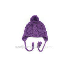 Ladies colorful acrylic knitted pom hat