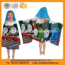 custom cartoon printed microfiber hooded beach towels for children