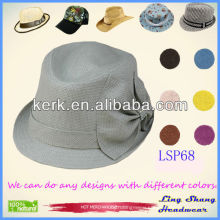 LSP68 ningbo lingshang 2014 Beautiful Rosette Bucket 100% Paper Straw Hat