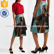 Lã impressa e mistura de saia de seda Fabricação Atacado Moda Feminina Vestuário (TA3008S)