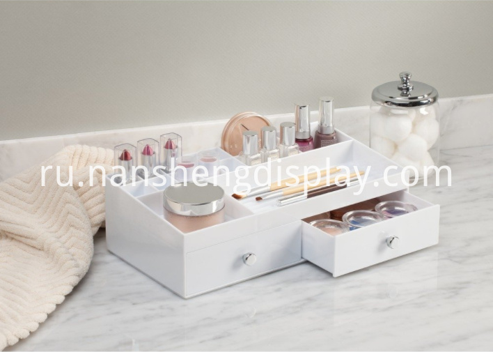 2 Drawers White Cosmetic Organizer