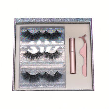 SL003H Hitomi Real Mink Eyelashes Private Label soft natural Fluffy 25mm Magnetic Eyelashes with Eyeliner and tweezers