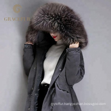 Special custom women winter down coat long with real fur hood new arrival wholesale from China