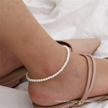 European and American Retro Temperament Single-Layer Beach Art Ins Pearl Ankle Fashion Jewellery Anklet Bracelet for Women