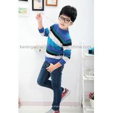 Kinder entworfener gestreifter gerippter 100% Baumwolle-weicher Pullover