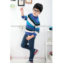 Kids Designed Striped Ribbed 100% Cotton Soft Sweater