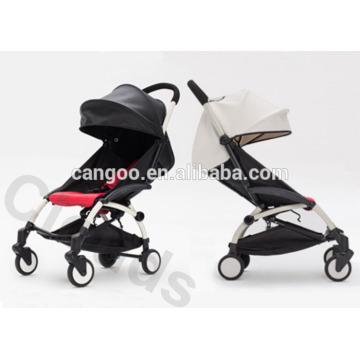 Carrinhos de bebê luxuosos de alumínio de couro preto ou branco com sistema de dobramento rápido