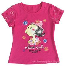 Мода девушки цветка Детская одежда в Детская Детская Футболка с Printingsgt-080