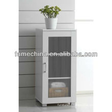 One Glass Door And Two Shelves White MDF Storage Cupboard