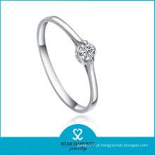 Alta qualidade moda prata zircão pedra anel
