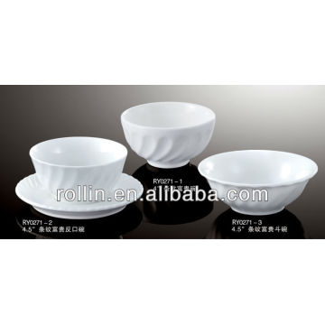 Chinese round crockery bowl, cereal bowl with stripe decoration