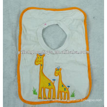 Super soft white lovely animal cotton baby bib