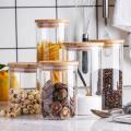 borosilicate jars bamboo lids stocked 450ml cylinder glass jar food grade