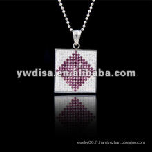 Collier pendentif carré de style occidental de style occidental, beau collier et différentes couleurs pour votre choix