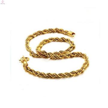 Verkupferung 18k Gold Seil Kette Halskette, Messing Halsketten Großhandel