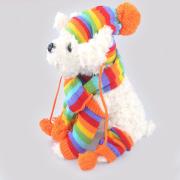 Perros mascotas invierno moda raya calentador de la pierna de sombrero de la bufanda de punto