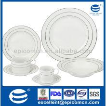 silver rim decoration custom-made stock household porcelain dinner set with good price